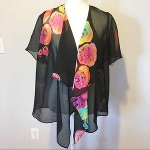 Susan Graver Kimono XS Black,Yellow, Pinks,Orange